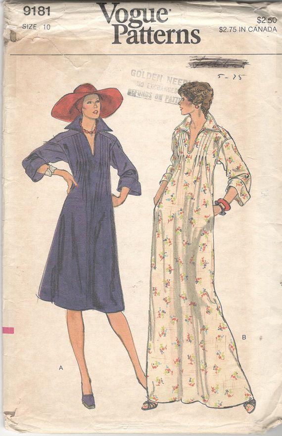 747727c97c48d Vogue 9181 1970s Misses Pullover Tucked Caftan Dress Pattern Slit ...