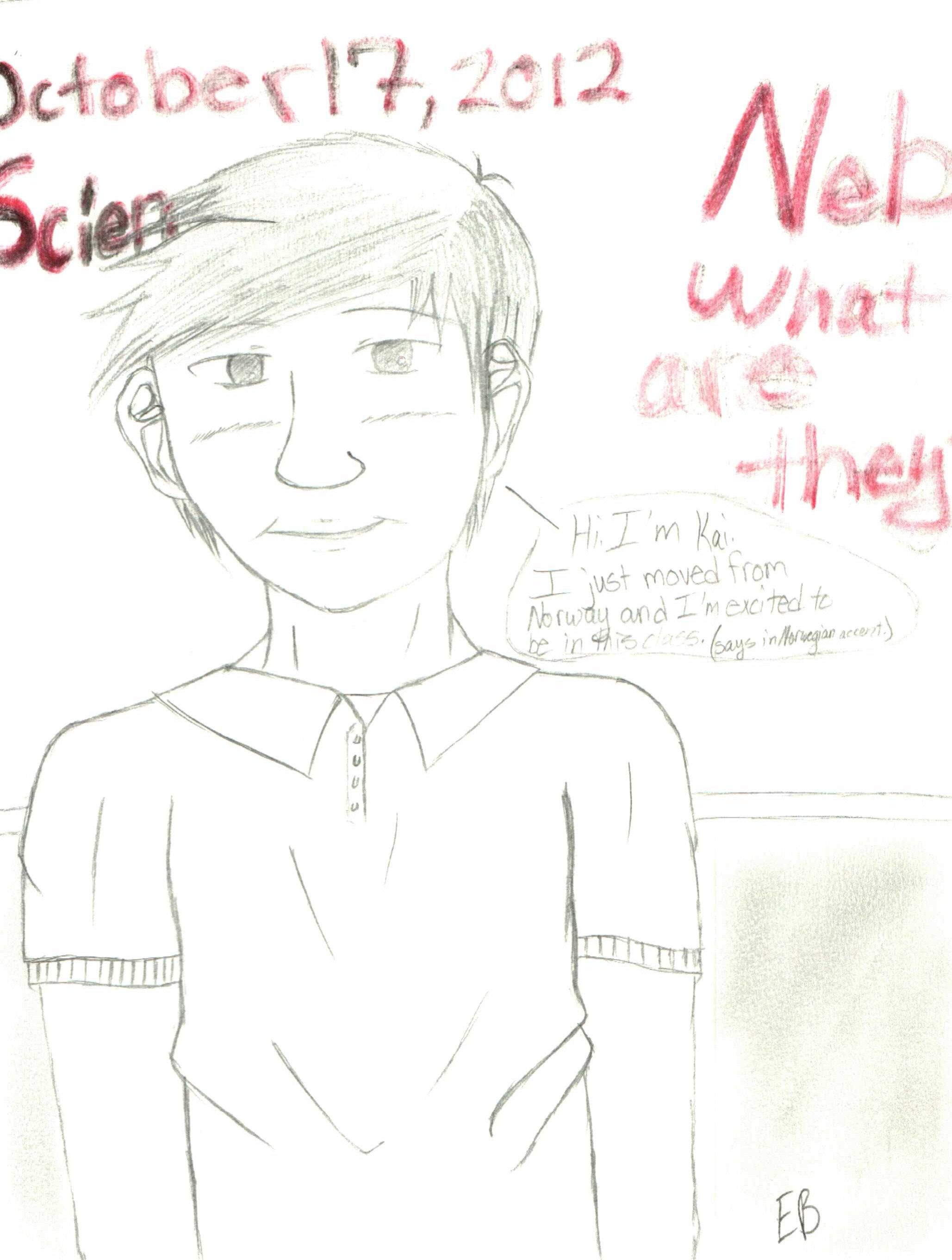 Character created by me Name: Kai Came from Norway going to new school.