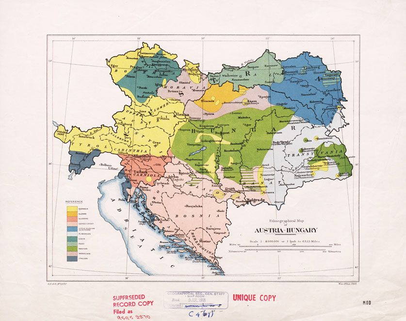 ethnographical map of austria hungary war office 1918the