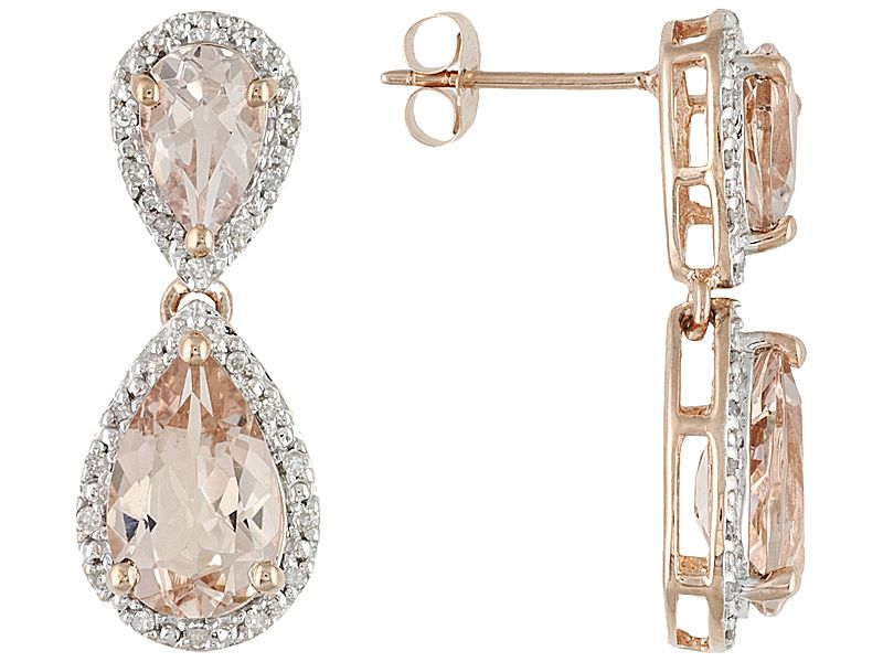 95f3a0e1a 4.56ctw Pear Shape Pink Morganite With .19ctw Round White Diamonds 10k Rose  Gold Dangle Earrings