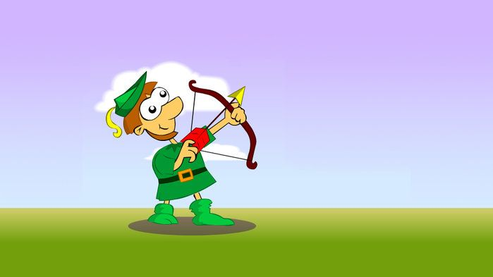 Can you Hit the Apple in Fraction Fiddle? - Mathematics (5,6). Help an archer to hit an apple with his arrow by building two fractions that equal one whole.
