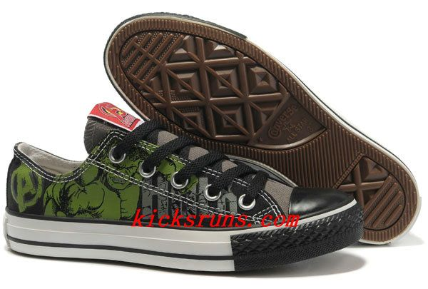 89e0ca8a7ae9 Hulk Shoes Converse Black Green The Avengers Chucks Taylor Low Tops Sneakers