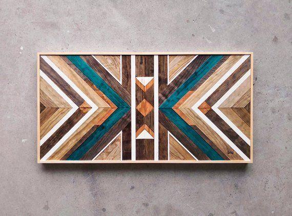Reclaimed Wood Wall Art, Wall Decor Wood, Wood Art, Wall Hangings, Geometric Wood Art, Mosaic Wood Art #reclaimedwoodwallart