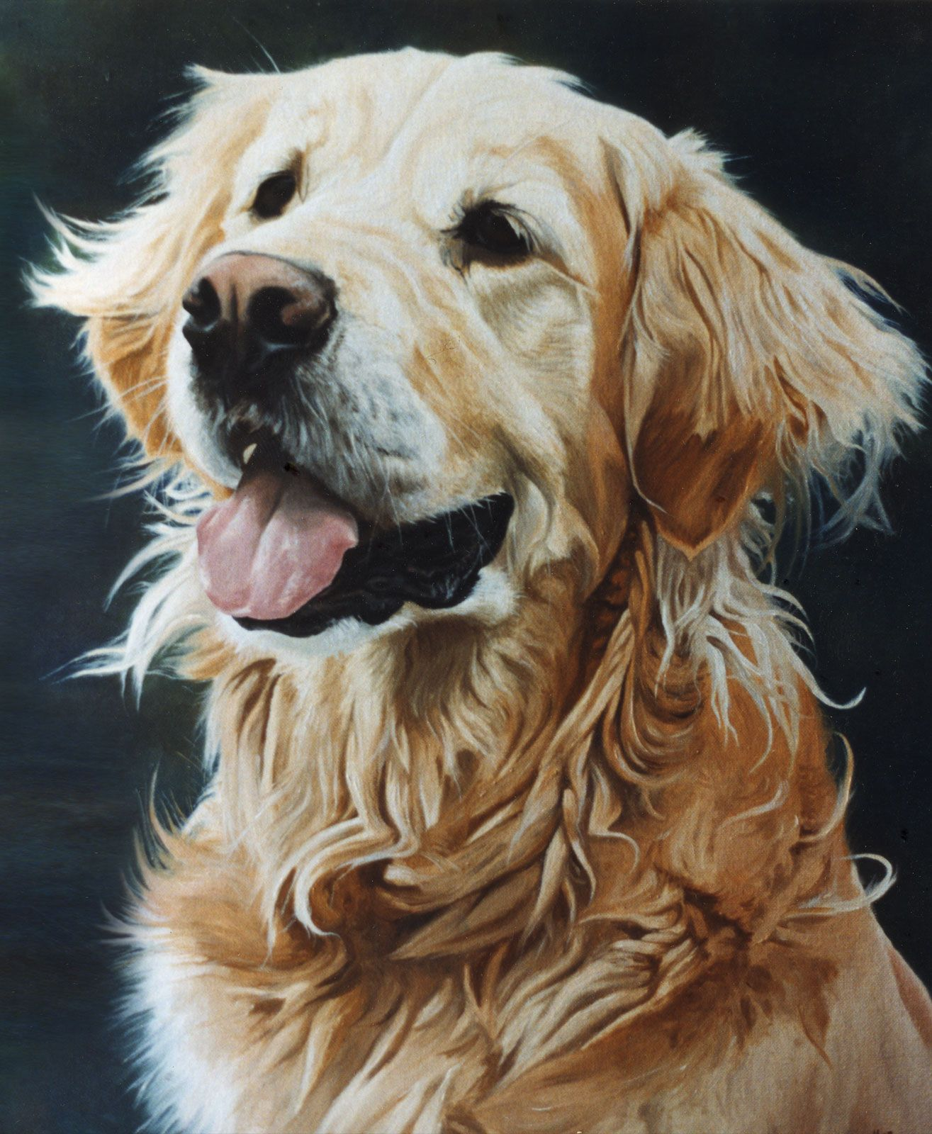 Golden Retriever Dog Portrait Oil Painting On Canvas Golden