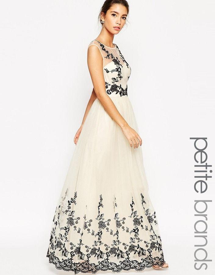 Chi Chi London Petite Floral Applique Maxi Prom Dress Prom Fashion