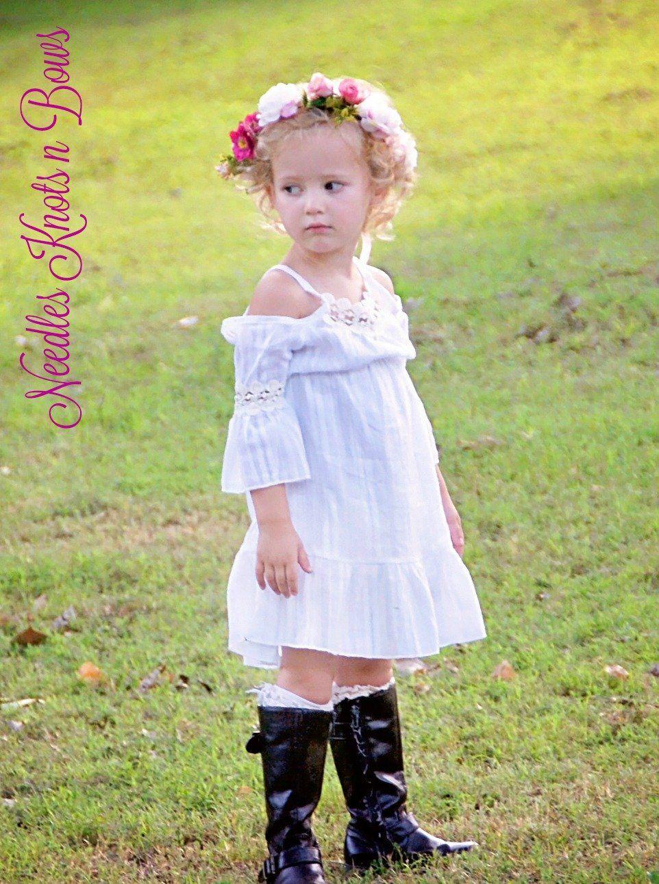 25426d626cec Girls White Over the Shoulder Bohemian Style Dress, Toddlers, Girls Boho Summer  Dress, Beach Dress, Wedding, Flower Girl Dress, Sizes 1, 2, 3, 4, 5, 6, 8,  ...