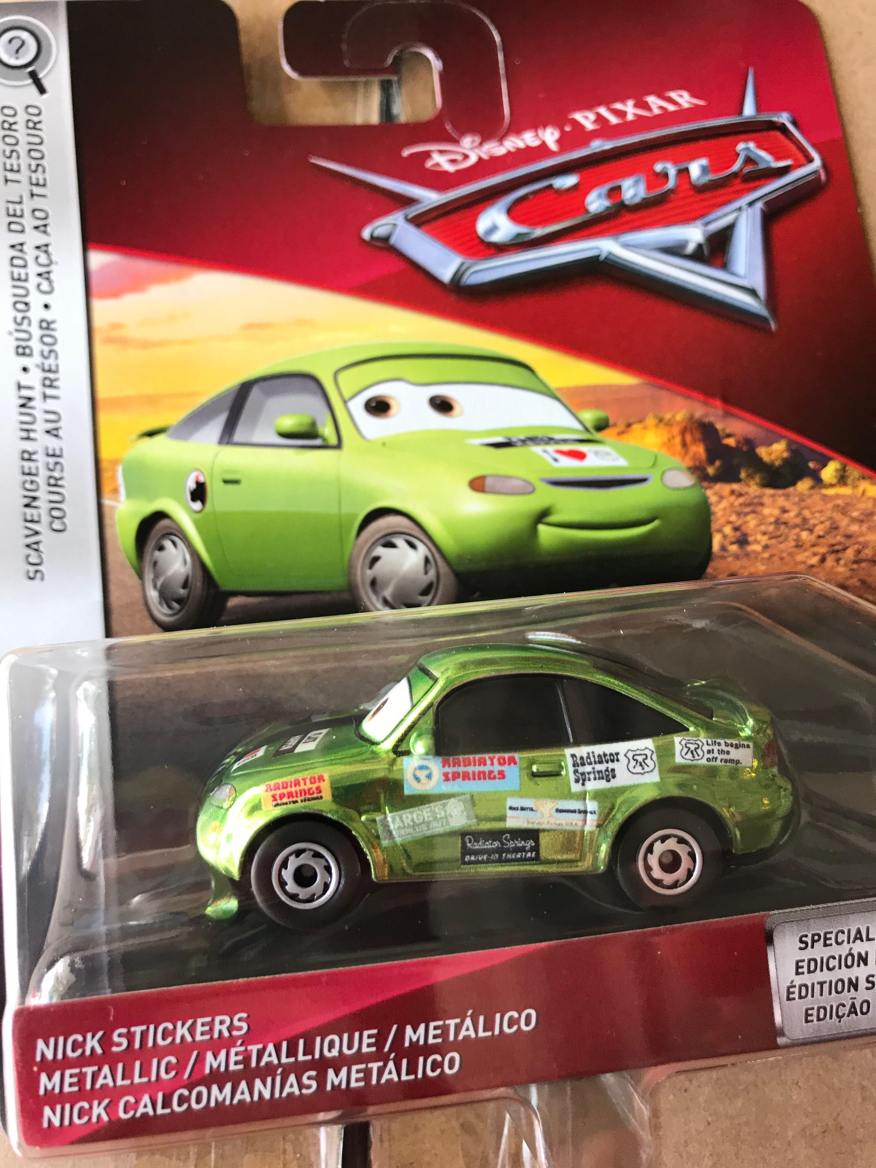 """Scale 1:55 NEW DISNEY PIXAR CARS /""""NICK STICKERS/"""" Die-Cast Metal Mattel"""