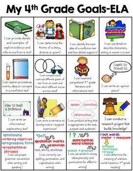 Fourth Grade Goals Sheet 4th Grade Common Core Goals 4th Grade