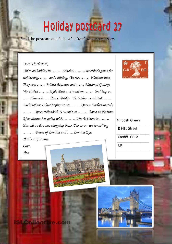 holiday postcard 27 free esl worksheets schule learn english english grammar worksheets y. Black Bedroom Furniture Sets. Home Design Ideas