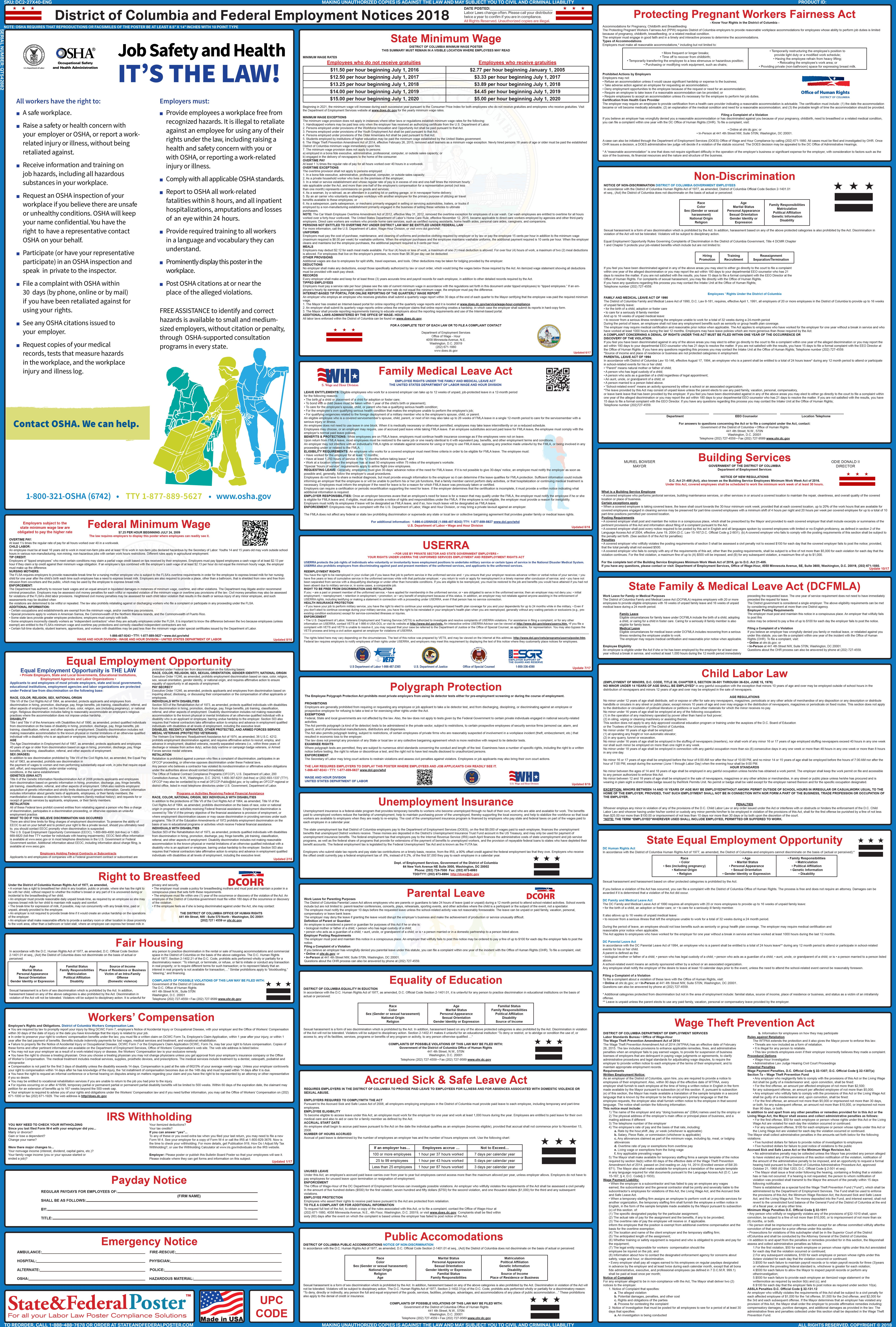 District Of Columbia State And Federal Labor Law Poster 2018 2018