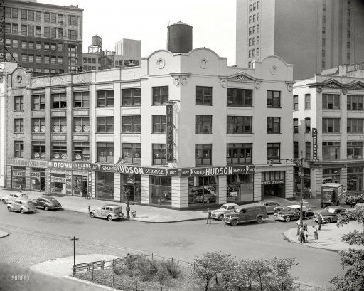 """New York circa 1947. """"Midtown Dealers Corp. and Hudson showroom, Broadway at W. 62nd Street."""" Home of """"Meyer the Buyer"""" and your Hudson Headquarters. Our latest 4x5 negative from the prolific but obscure John M. Fox."""