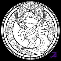 Stained Glass Fluttershy Line Art By Akili Amethyst Coloring