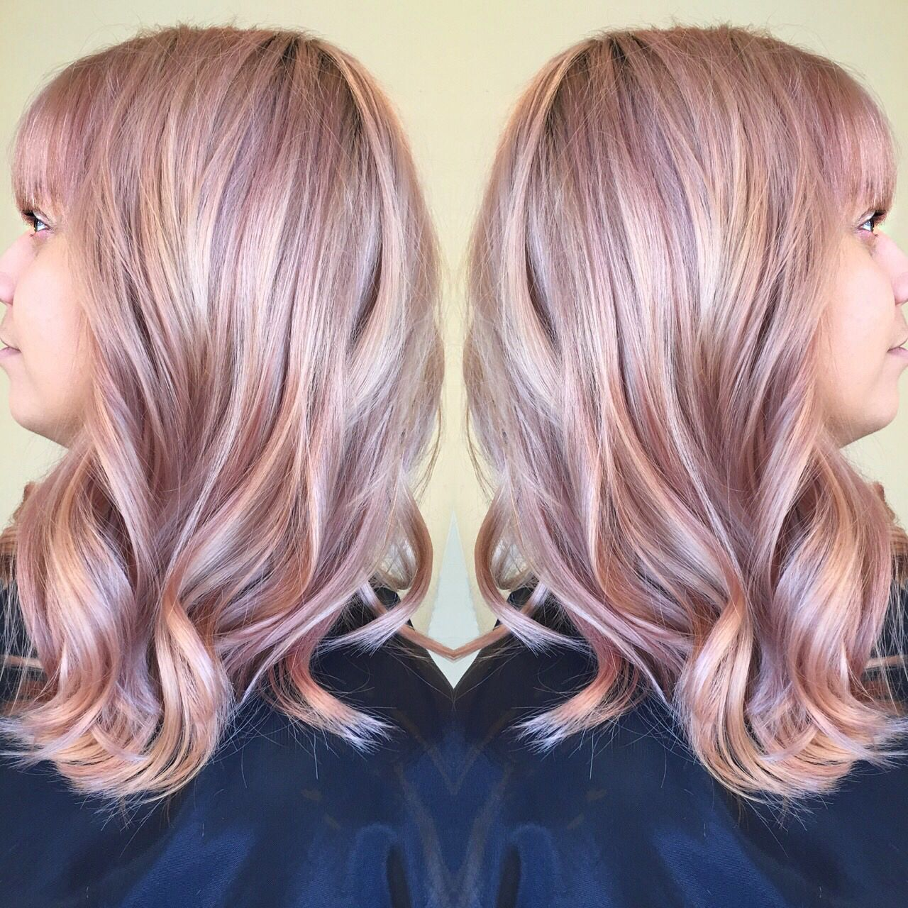 Dusty rose gold muted mauve pastel color hair by me for Purple mauve color