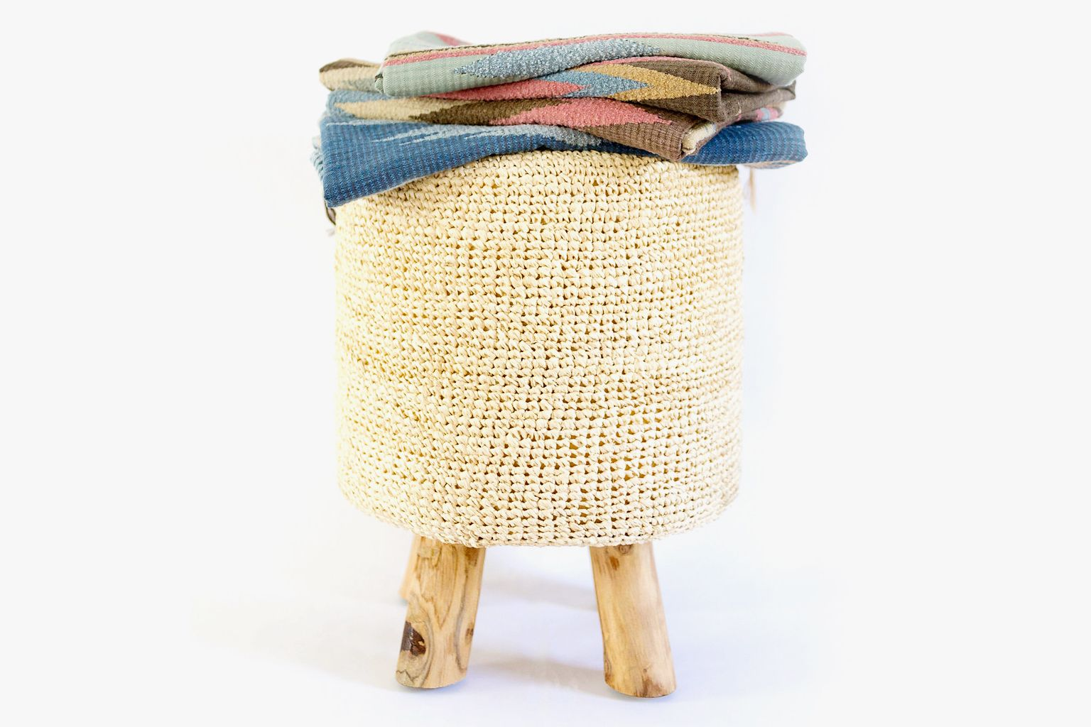 Natural Raffia Stool The Sisters at Home by Design 4 Corners