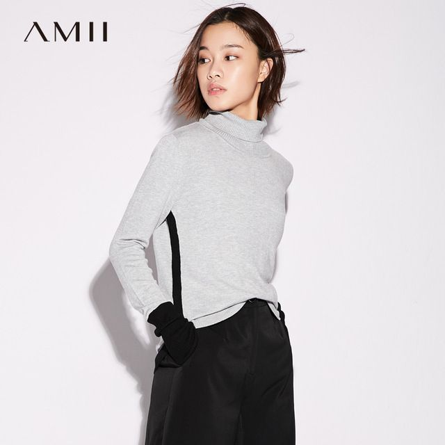 Amii Casual Minimalist Women Sweater 2017 Contrast Color Patchwork Turtleneck Long Sleeve Female Pullovers Sweaters #Amii #sweaters #women_clothing #stylish_sweater #style #fashion