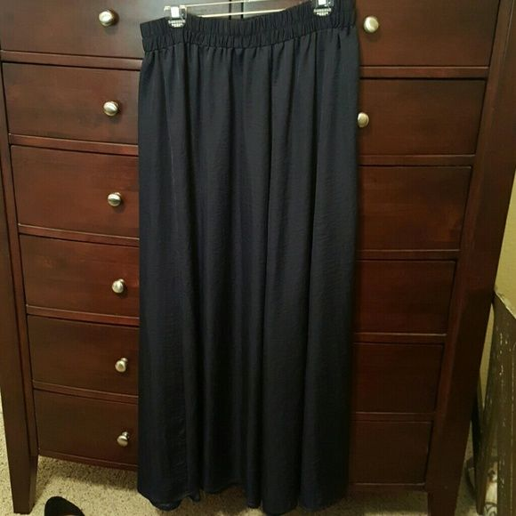 Silky maxi skirt Never worn. Silky material, deep blue color. Lane Bryant Skirts Maxi