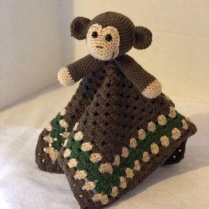 Monkey Lovey Pattern   Security Blanket   Crochet Lovey   Baby Lovey Toy   Blanket Toy   Lovey Blanket PDF Crochet Pattern