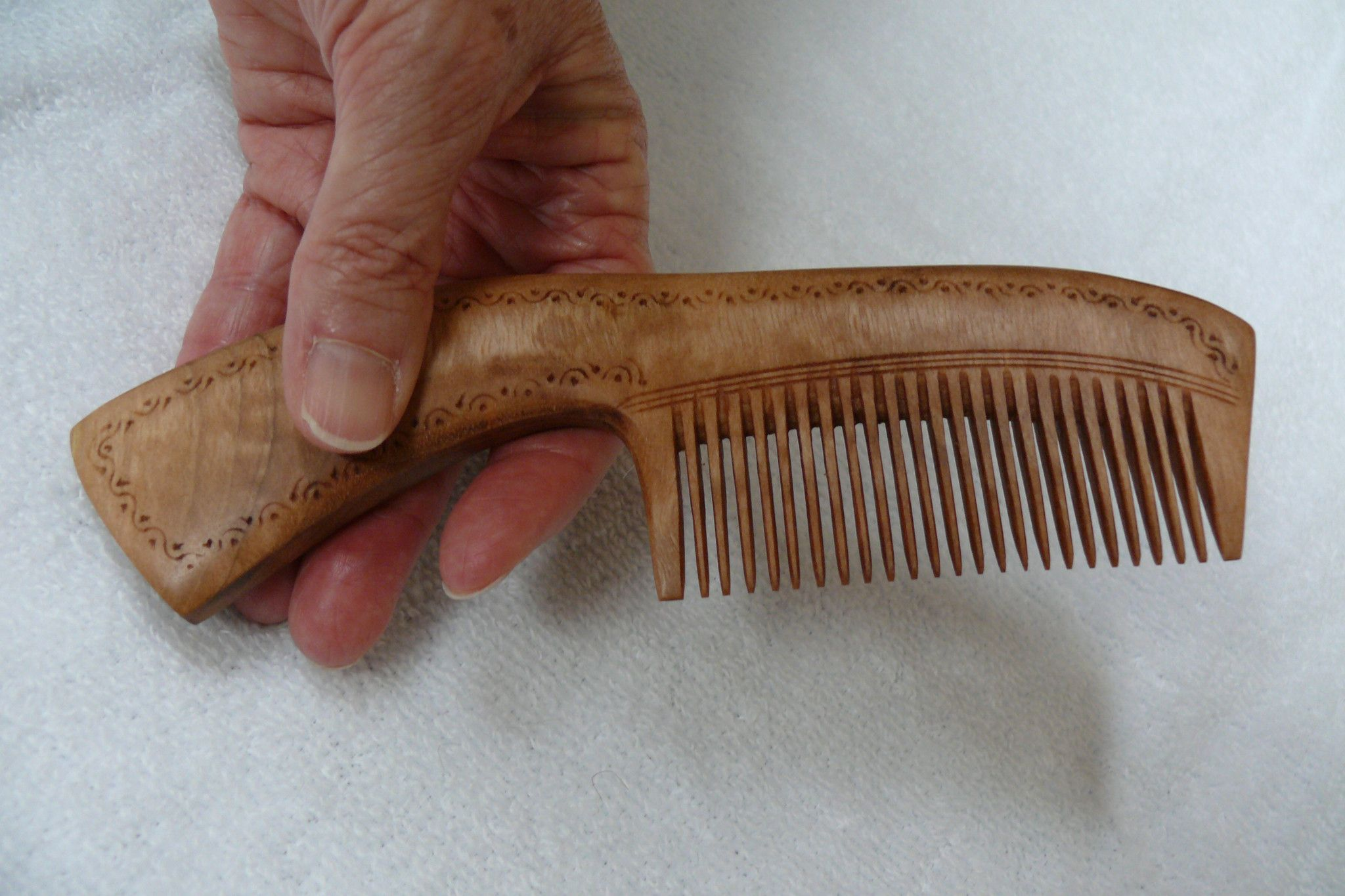 Hand Carved Wooden Comb with Handle