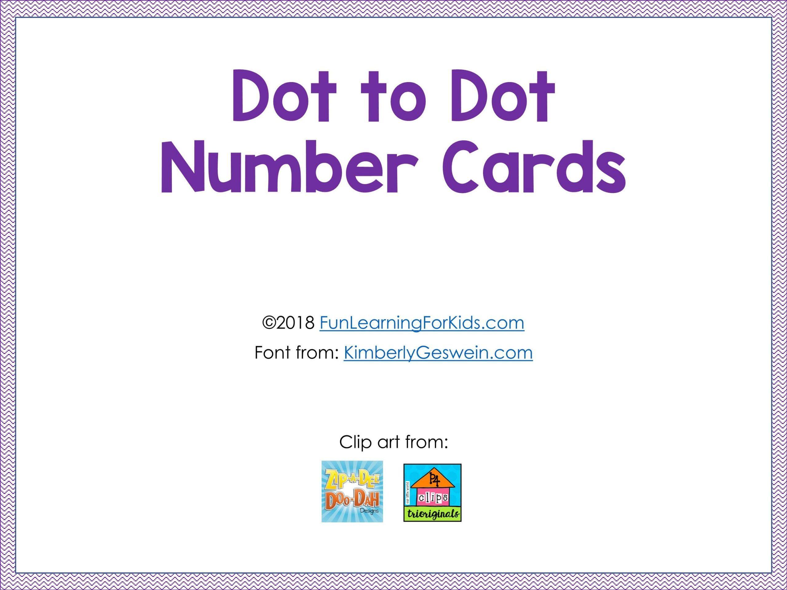 تتبع الارقام Dot To Dot Number Cards ممتعة للاطفال Clip Art Number Cards Cards
