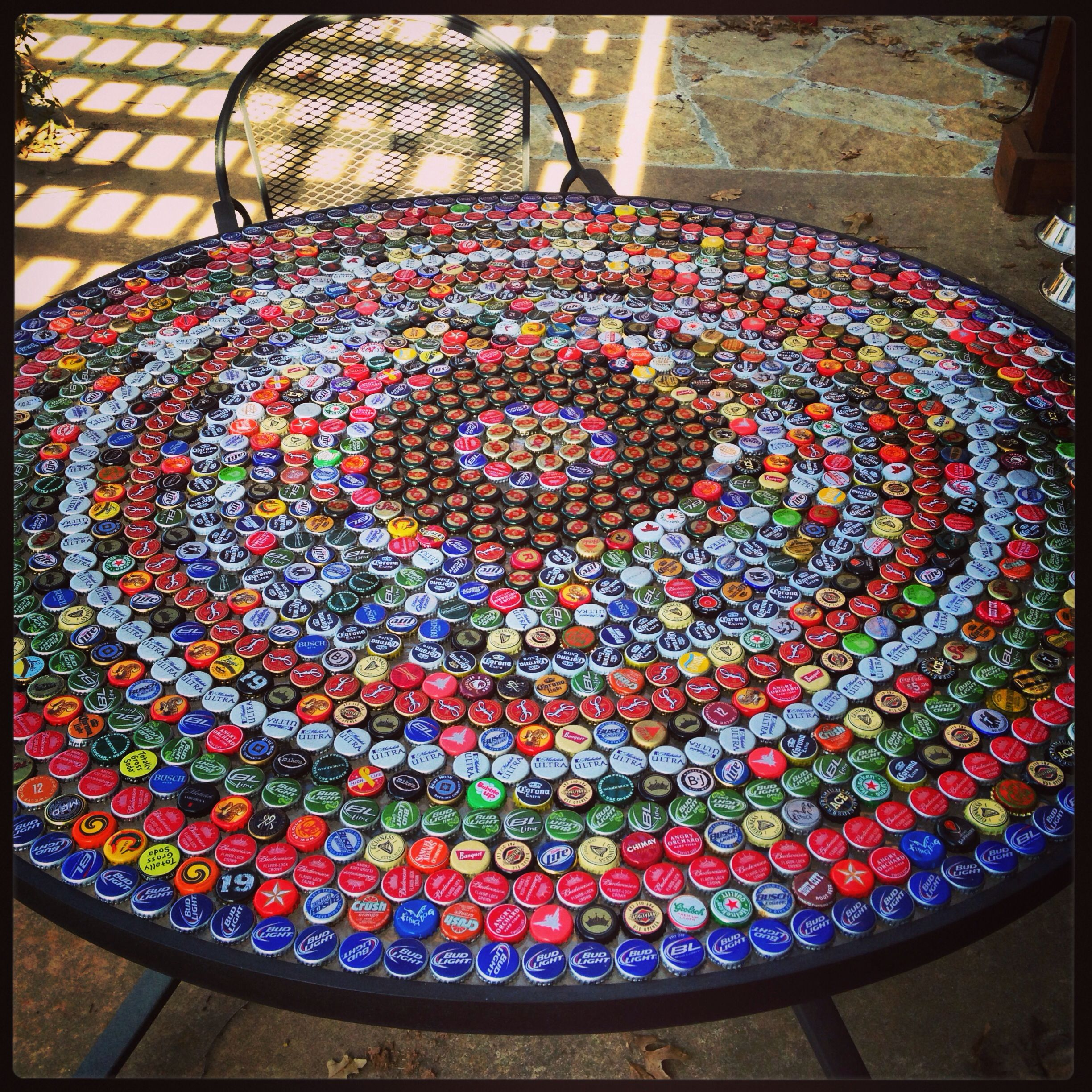 Bottle Cap Table Garden Pinterest