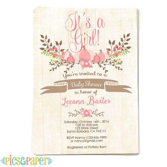 Pink pumpkin baby shower invitation for baby girl by picsandpaper pink pumpkin baby shower invitation for baby girl by picsandpaper filmwisefo