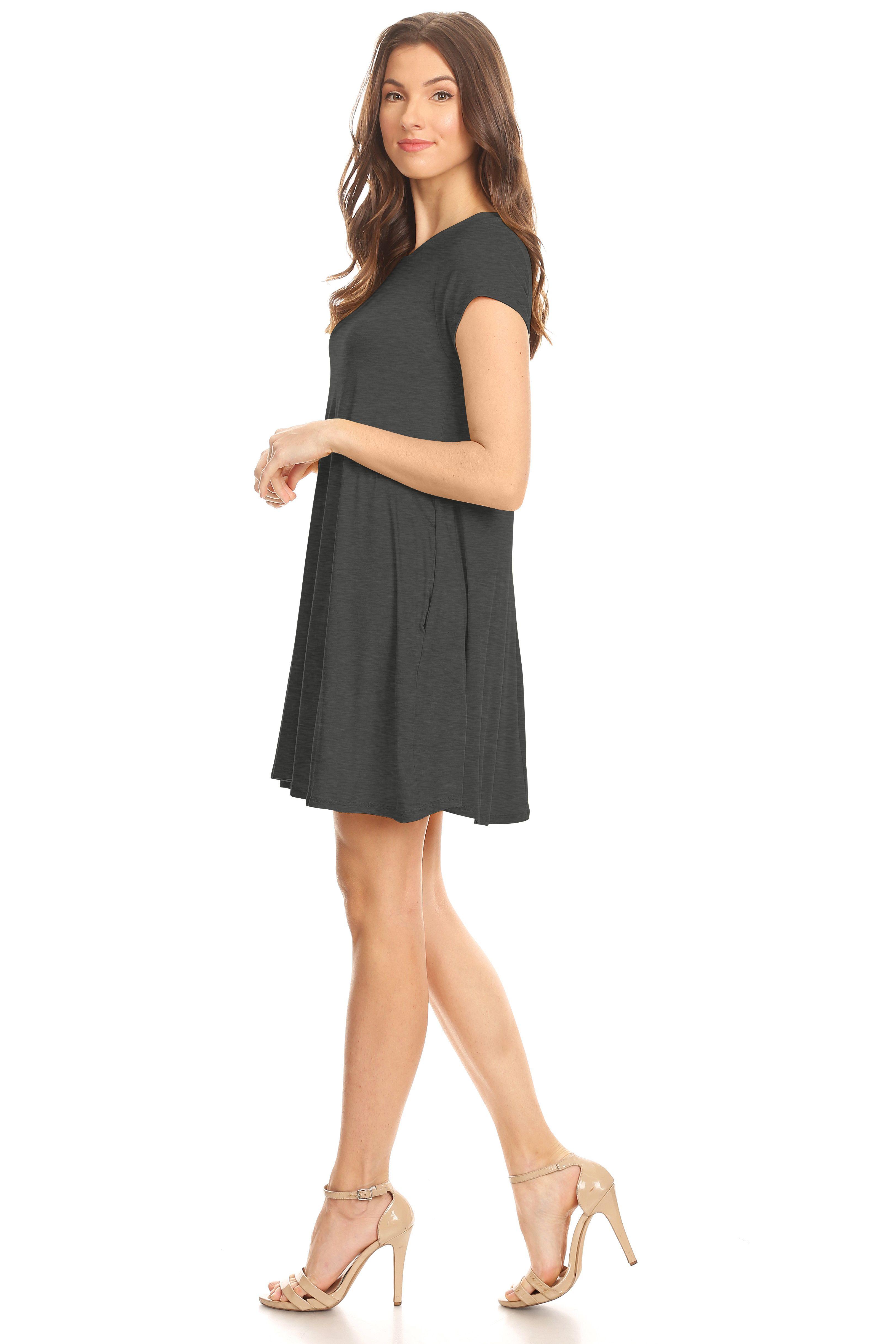 9bfd1959a30 Womens Casual Short Sleeve T Shirt Dress Flowy Tunic Dress with Pockets -  USA Sleeve