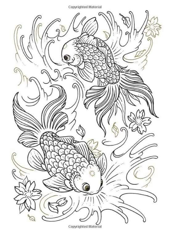 Kleurplaat vissen Happy New Year Fish coloring page