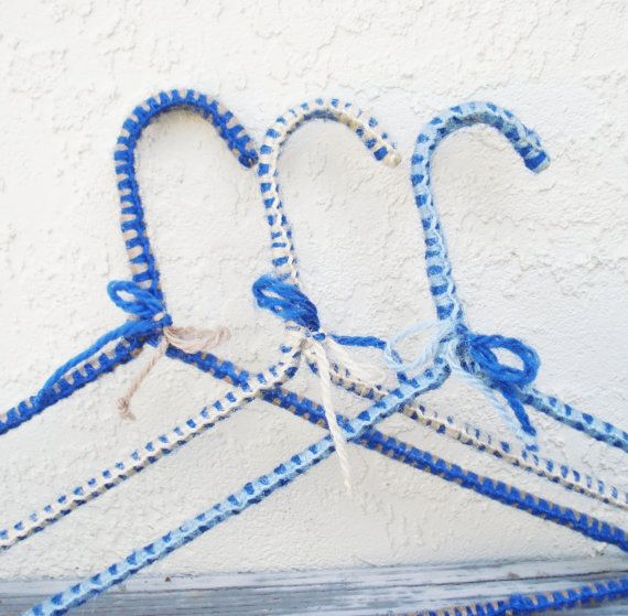 Vintage Crochet Wire Hangers in Cool Blue by AlegriaCollection ...