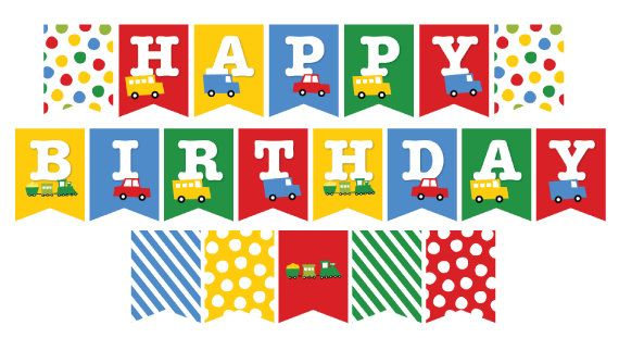 Colorful Airplane Trail Birthday Personalized Banner