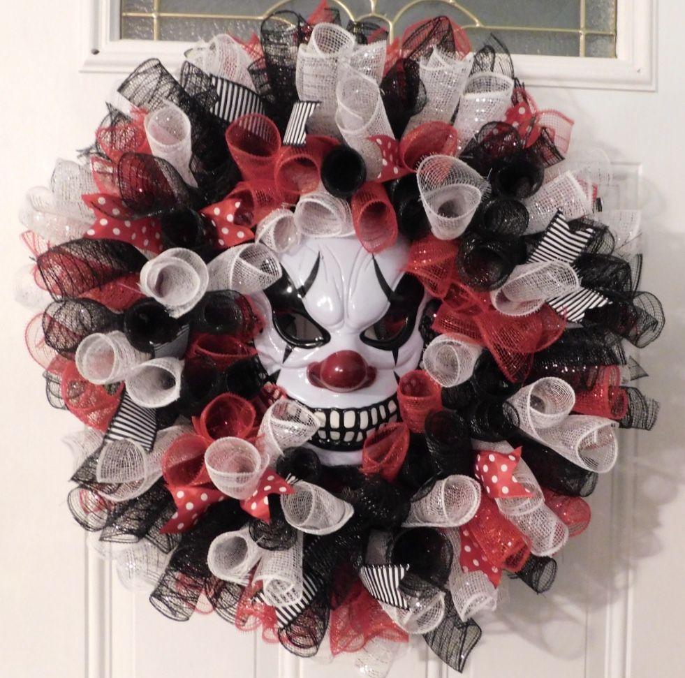 Creepy Clown Deco Mesh Wreath Halloween Door Decorations Diy