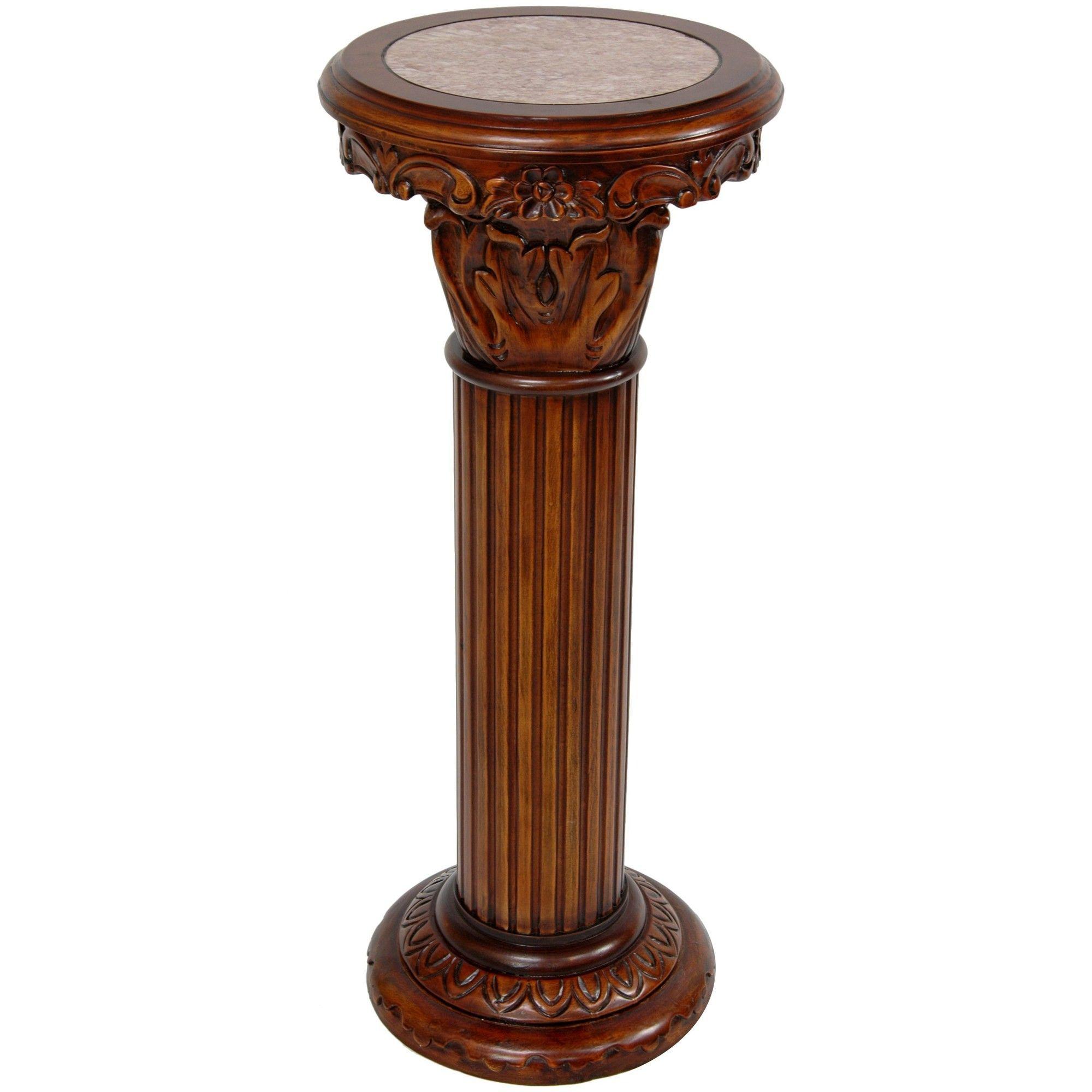 Oriental Furniture Lydian Column Pedestal Plant Stand Oriental Furniture Wooden Columns Plant Stand