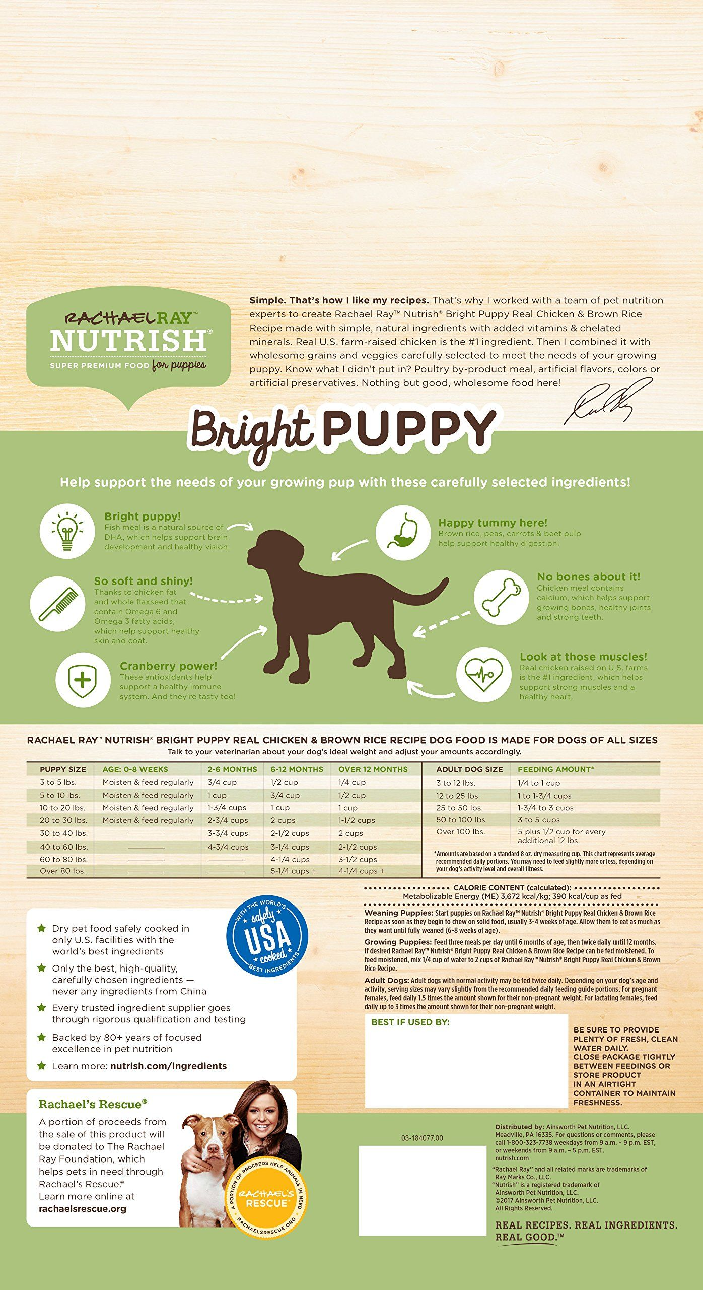 Rachael Ray Nutrish Bright Puppy Natural Dry Dog Food Real Chicken