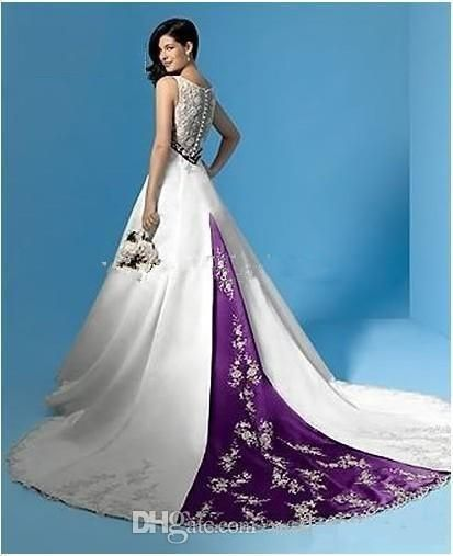 Discount Best Selling White And Purple Satin A Line Wedding