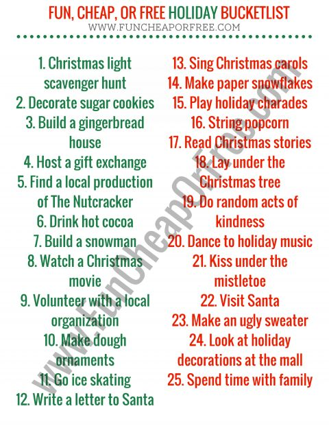 The Ultimate Holiday Bucket List! + Free Printable (Christmas Break Boredom Buster -   18 holiday Activities list ideas