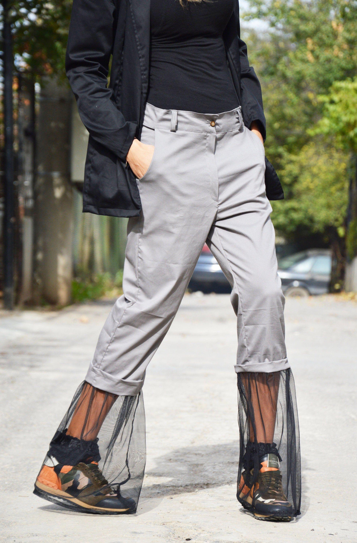Light grey cotton wide pants extravagant loose pants