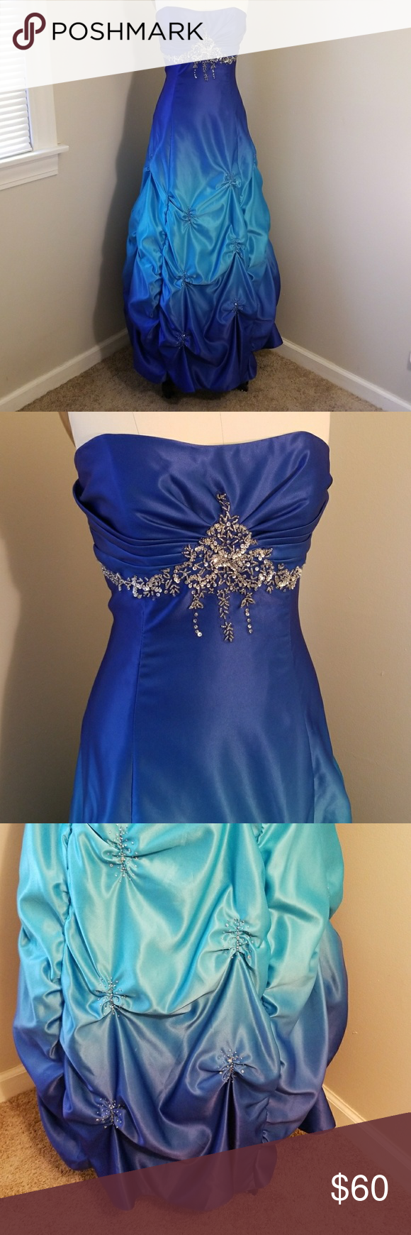 Blue ombre prom homecoming dress