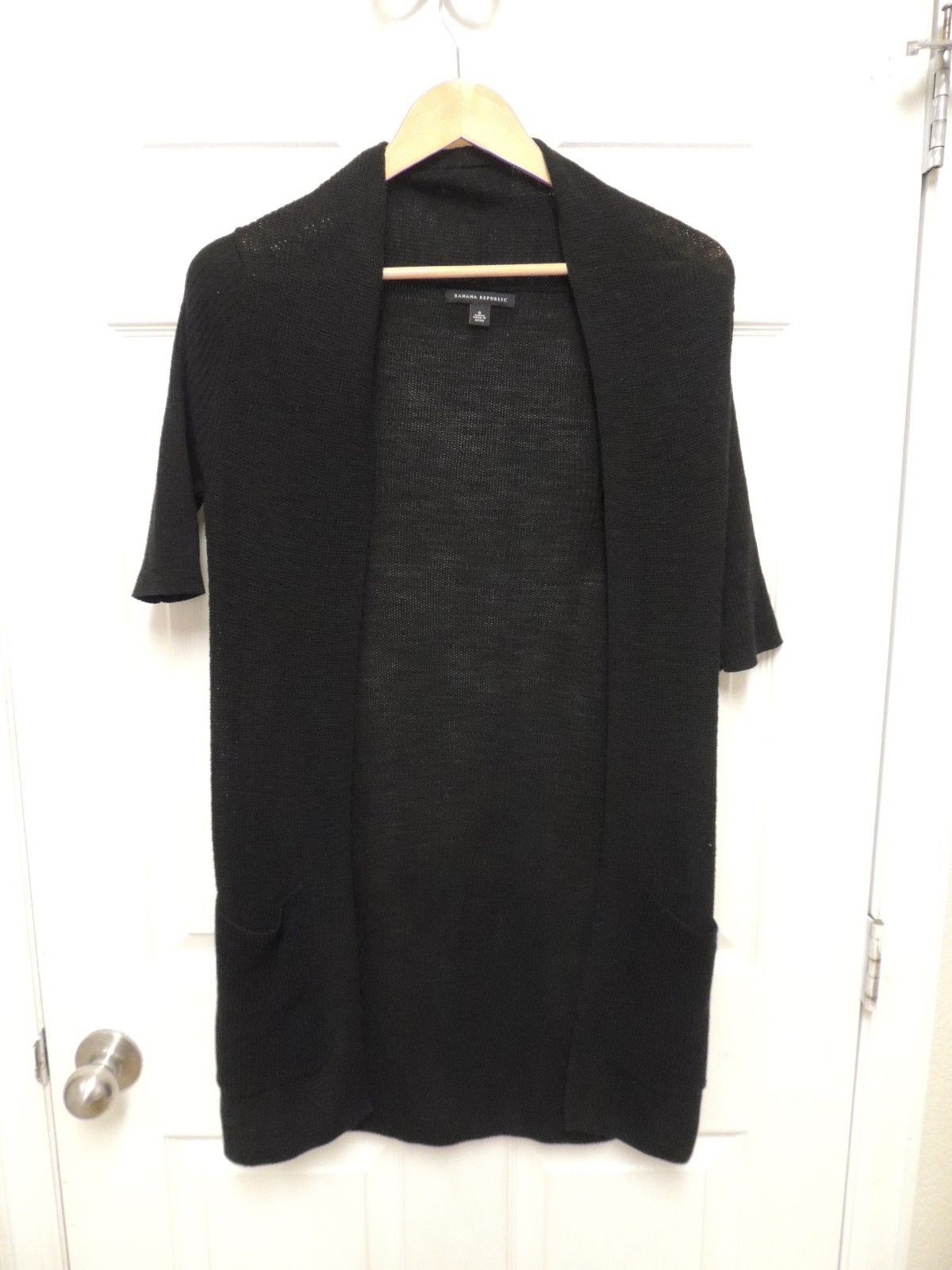 Cool Banana Republic Women's Black Knit Long Open Cardigan Sweater ...
