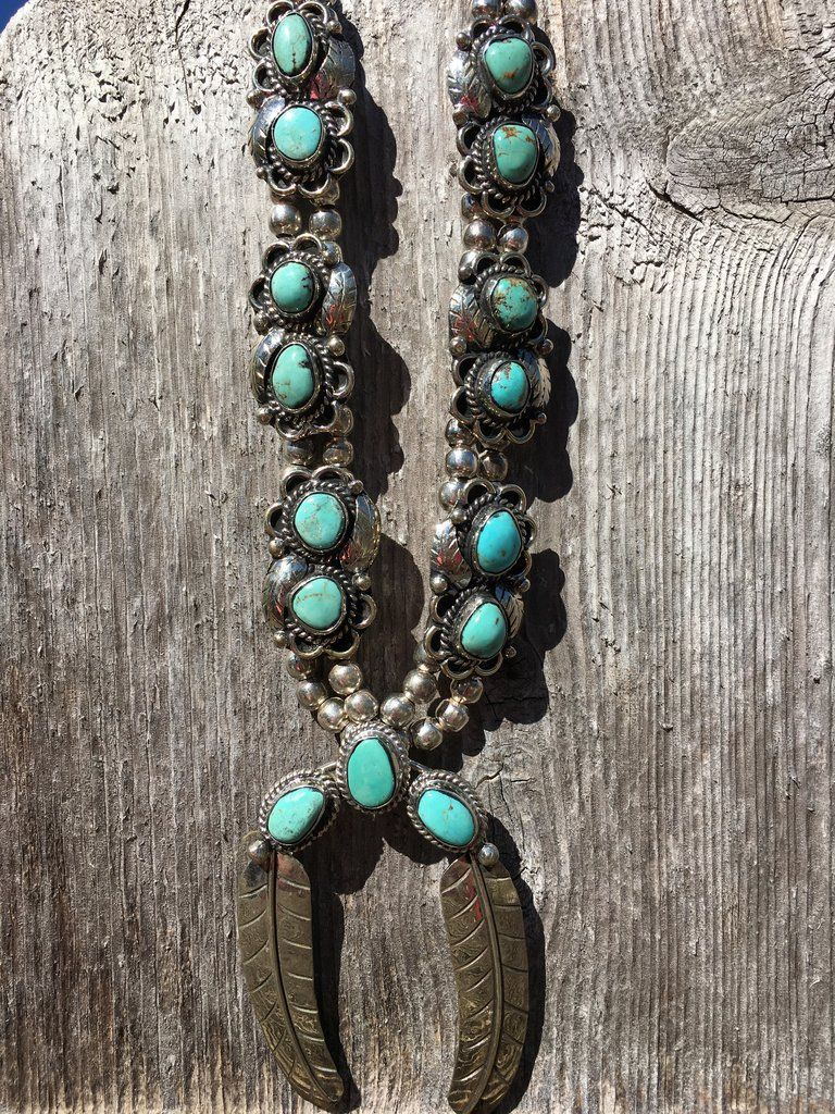 #14 Gypsy Feather Necklace Turquoise Squash Blossom