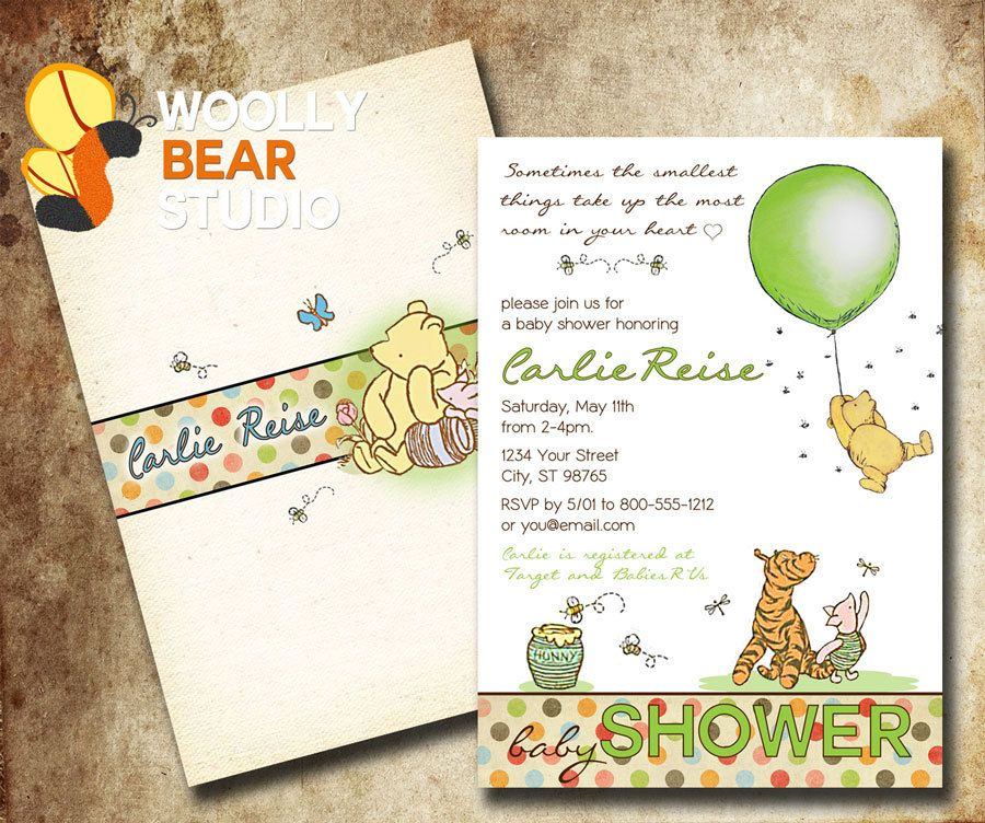 Printable Classic Winnie the Pooh Baby Shower by WoollyBearStudio ...