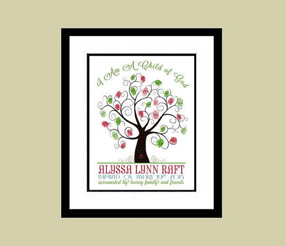 LDS Baptism Guest thumbprint tree, cute idea to make for Madelyn ...