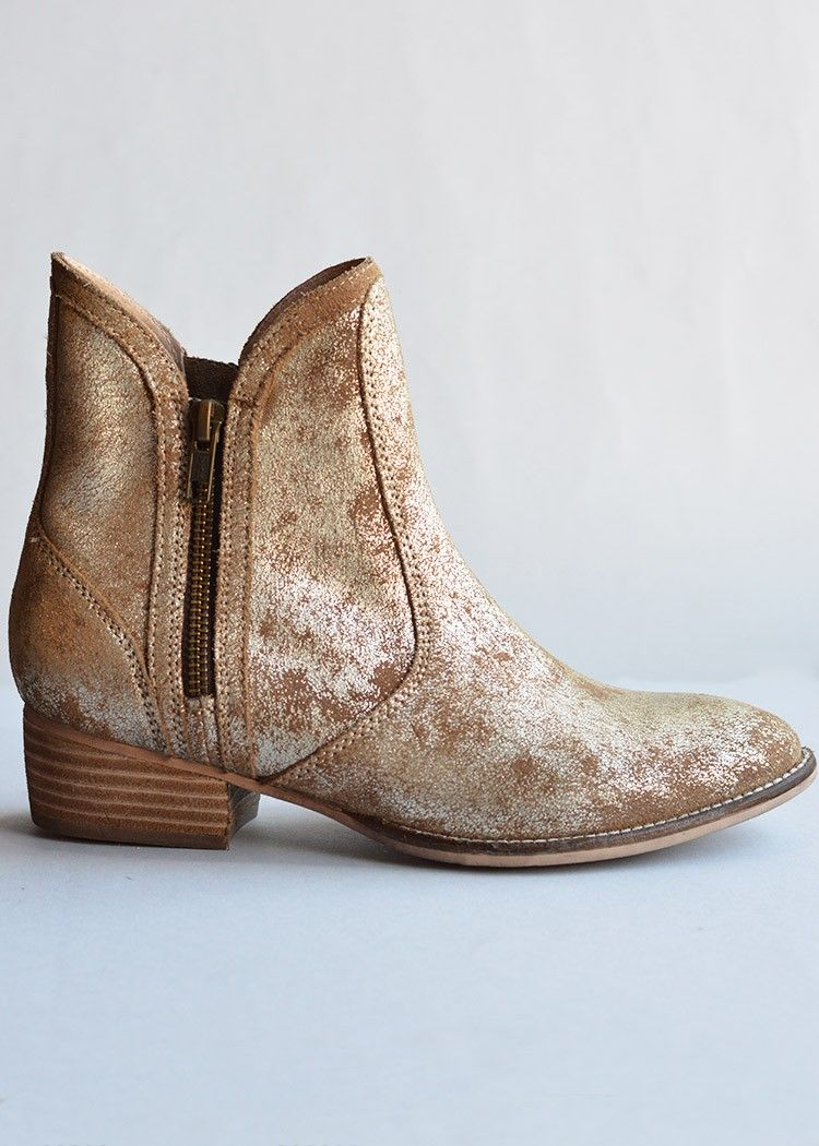 Seychelles Lucky Penny Gold Distressed Bootie. Gold Ankle ...