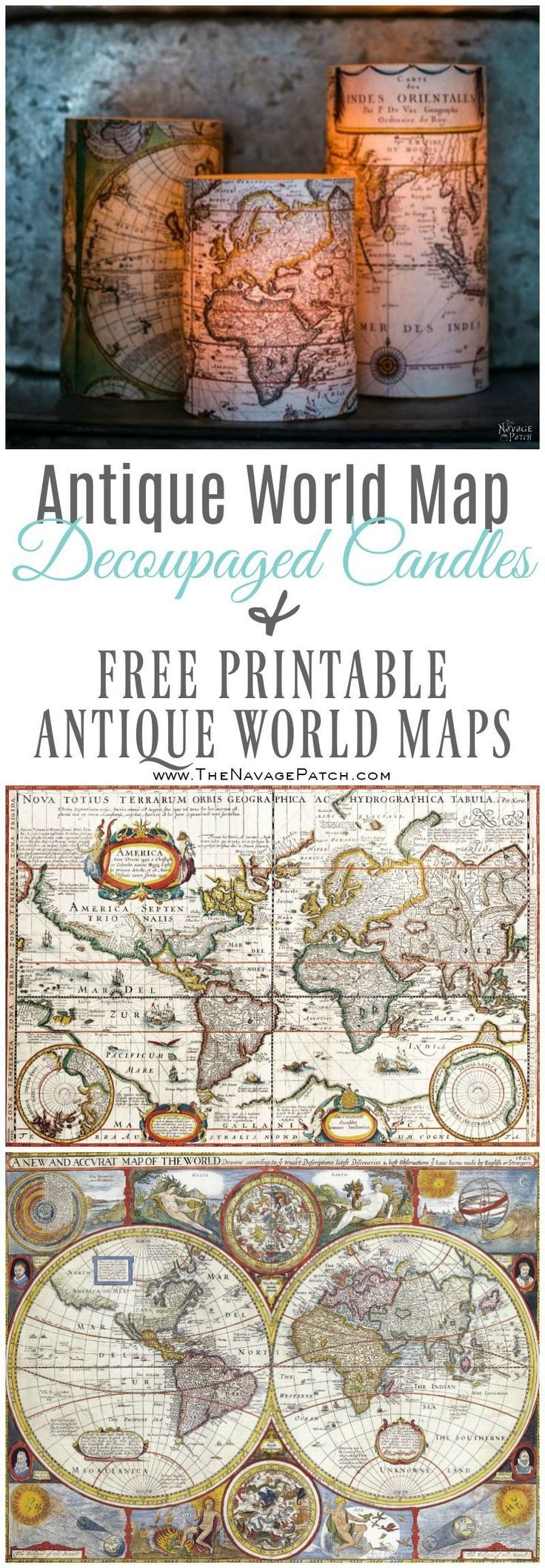 Decoupage Candles with Antique World Maps (FREE Printables ...