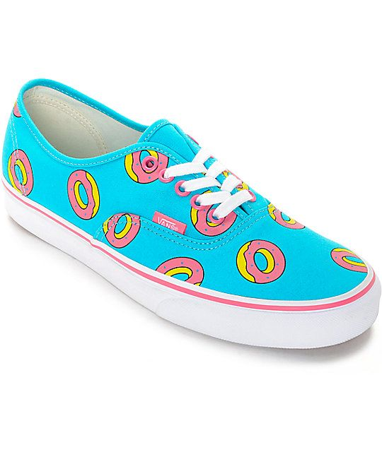 d78bfd857bf7   b  br  br Limited Edition Odd Future x Vans skate shoe featuring  signature Golf Wang pink donut print on a bright Scuba Blue colorway.
