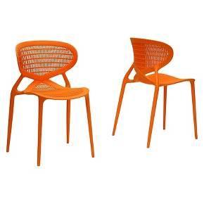 Neo Plastic Modern Dining Chair Orange Set Of 2 Baxton Studio Target Orange Dining Chairs Contemporary Dining Chairs Dining Chairs