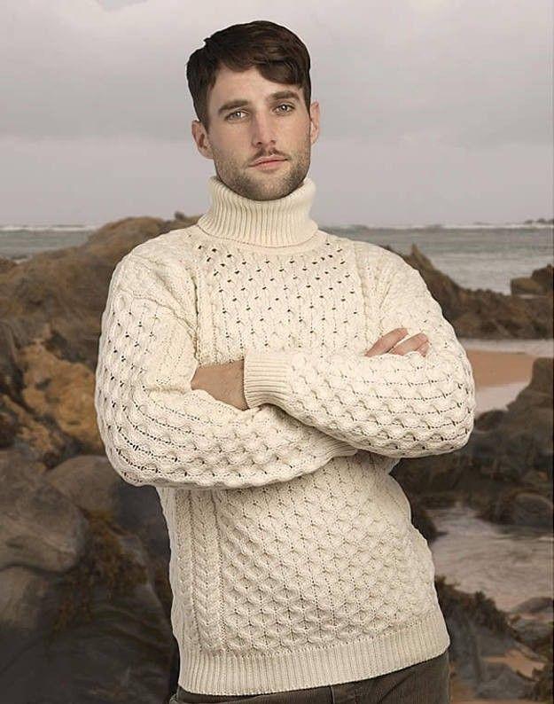 Irish Aran Sweater | Clothing | Pinterest | Irish sweaters, White ...
