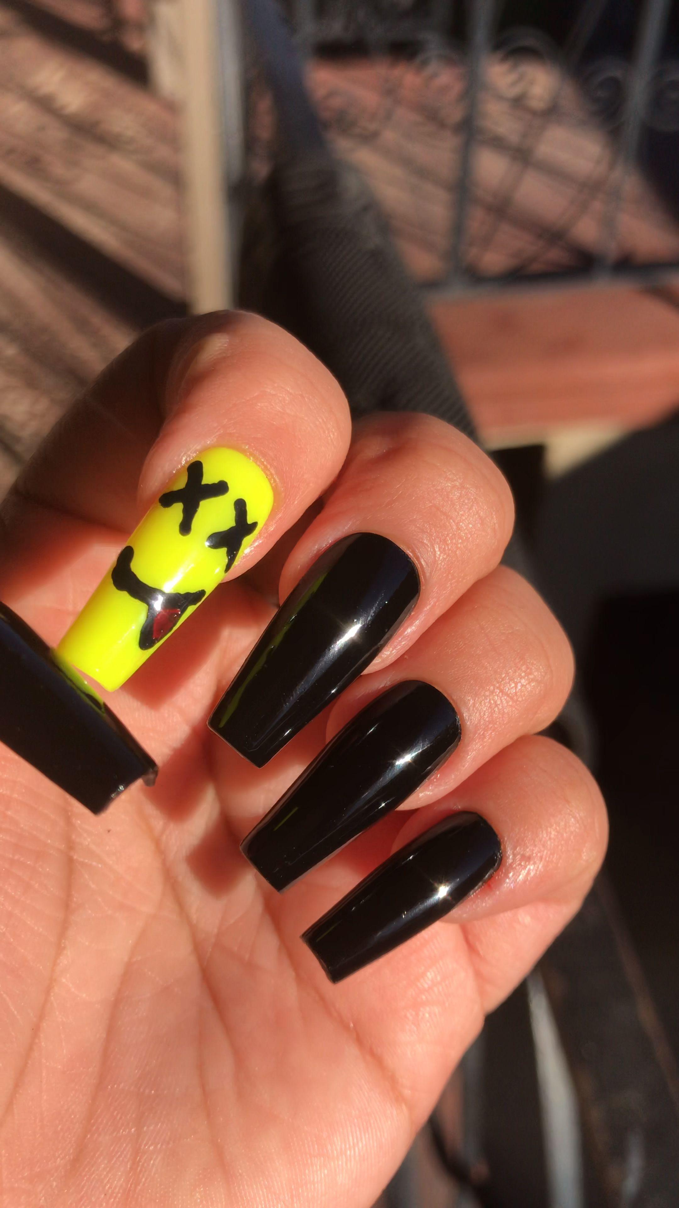 Black Nails Video Long Acrylic Nail Designs Rave Nails Long Acrylic Nails