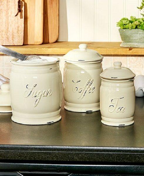 Set 3 Classic White Ceramic Kitchen Sugar Coffee Tea Canister Storage Jars New Unbranded Ceramic Canisters Ceramic Kitchen Canisters Kitchen Canister Sets