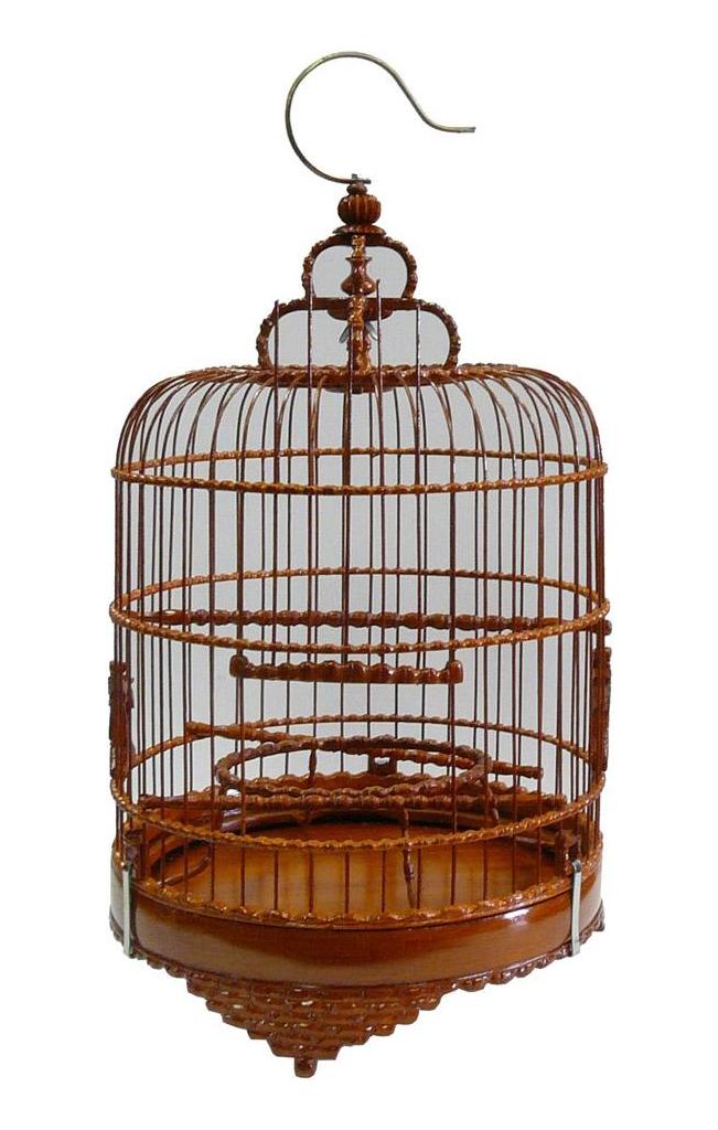 Chinese Wood Round Decorative Birdcage Wood Rounds Pagoda Decor Bird Cage