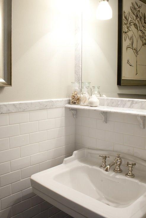 White Tile Backsplash Bathroom Images Galleries With A Bite