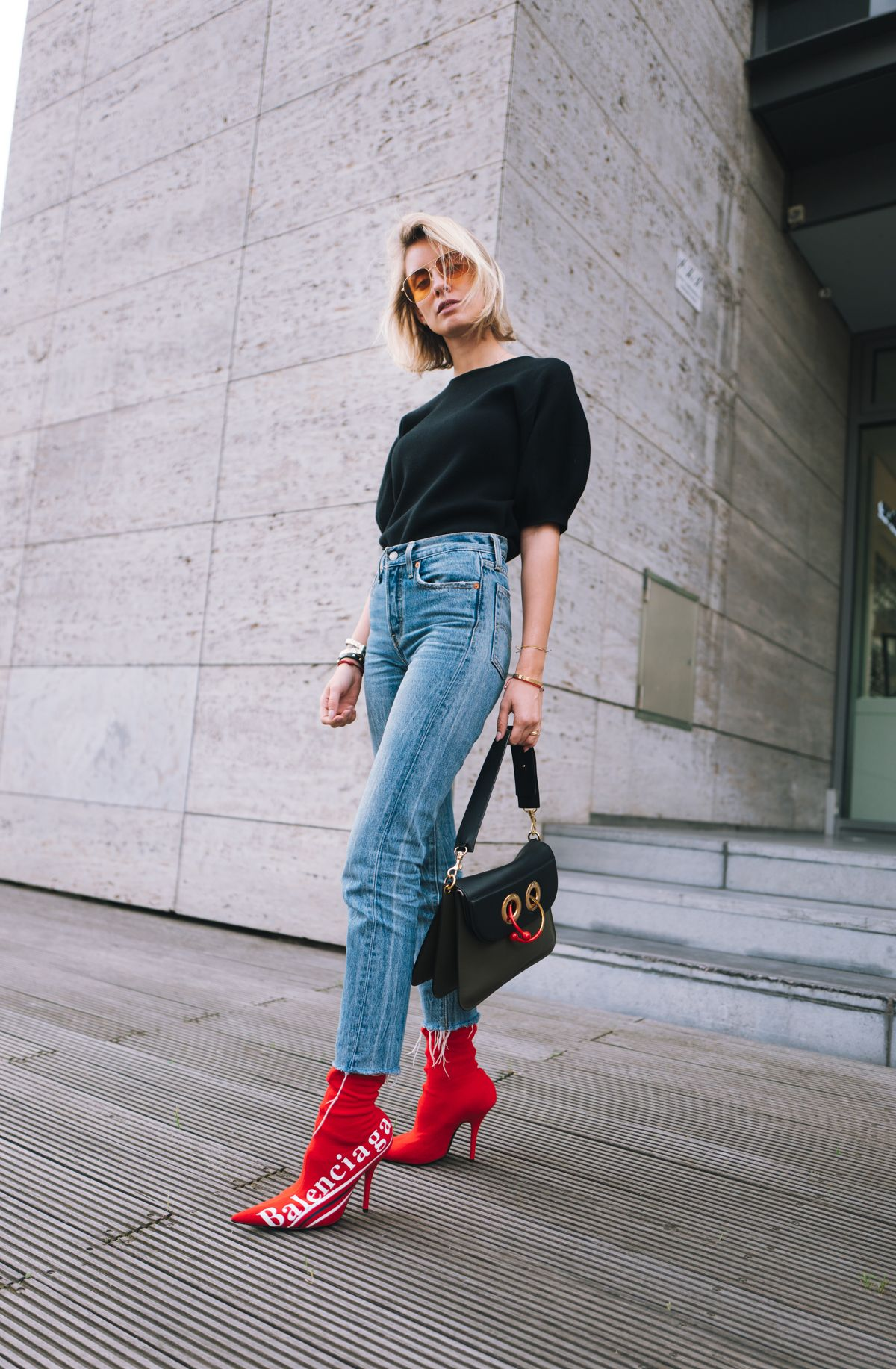 Balenciaga x Colette Knife Boots Outfit